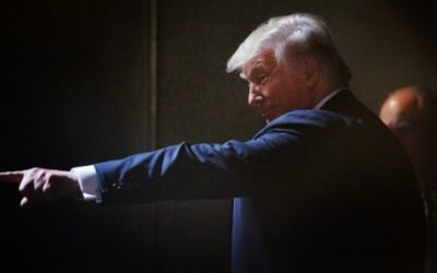 Presumptive Republican presidential nominee Donald Trump motions to the crowd while leaving the stage after a campaign event at the Duke Energy Center for the Performing Arts on July 5, 2016 in Raleigh, North Carolina. (Sara D. Davis/Getty Images/AFP)
