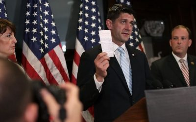 US Speaker of the House Paul Ryan holds up a copy of the US Constitution during a press briefing on July 6, 2016. (Alex Wong/Getty Images/AFP)
