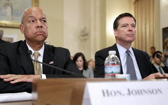 Homeland Security Secretary Jeh Johnson (left) and FBI Director James Comey testify before the House Homeland Security Committee on Capitol Hill in Washington, DC, on July 14, 2016. (Chip Somodevilla/Getty Images/AFP)
