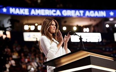 Melania Trump delivers a speech on the first day of the Republican National Convention on July 18, 2016 at the Quicken Loans Arena in Cleveland, Ohio. (Chip Somodevilla/Getty Images/AFP)