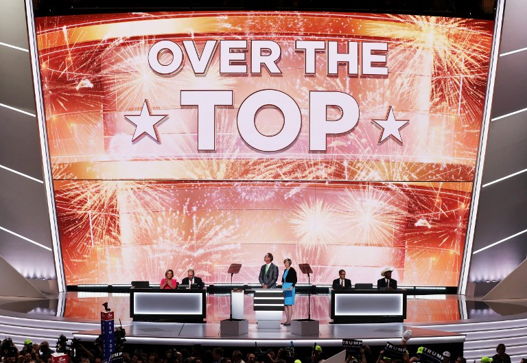 A screen projects Republican presidential candidate Donald Trump clinches the GOP nomination on the second day of the Republican National Convention on July 19, 2016 at the Quicken Loans Arena in Cleveland, Ohio. (Alex Wong/Getty Images/AFP)