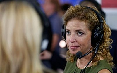 Debbie Wasserman Schultz, chair of the Democratic National Committee, discusses why she believes Hillary Clinton is the best candidate for the presidency, while being interviewed  at Quicken Loans Arena on July 20, 2016 in Cleveland, Ohio (Kirk Irwin/Getty Images for SiriusXM/AFP)