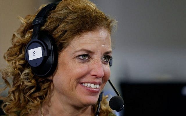 Debbie Wasserman Schultz, chair of the Democratic National Committee, being interviewed at Quicken Loans Arena on July 20, 2016 in Cleveland, Ohio.  (Kirk Irwin/Getty Images for SiriusXM/AFP)