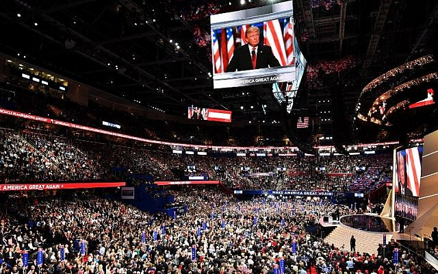 Republican presidential candidate Donald Trump delivers a speech during the evening session on the fourth day of the Republican National Convention on July 21, 2016 at the Quicken Loans Arena in Cleveland, Ohio. ( Jeff J Mitchell/Getty Images/AFP)
