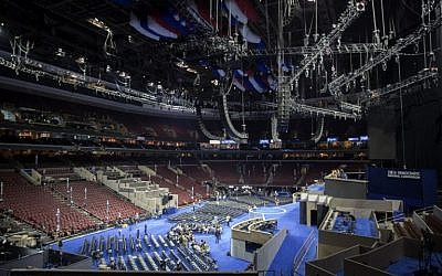 The convention floor is seen ahead of the Democratic National Convention at the Wells Fargo Center July 23, 2016 in Philadelphia, Pennsylvania. (Aaron P. Bernstein/Getty Images/AFP)