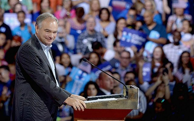 Democratic vice presidential candidate Sen. Tim Kaine (D-Virginia) at a campaign rally at Florida International University Panther Arena on July 23, 2016 in Miami, Florida. (Gustavo Caballero/Getty Images/AFP)