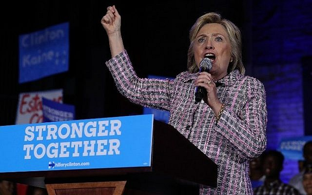 Democratic presidential candidate Hillary Clinton speaks at a Democratic Party organizing event on July 25, 2016 in Charlotte, North Carolina. (Justin Sullivan/Getty Images/AFP)