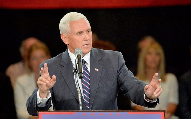 Republican vice presidential candidate Mike Pence addresses an audience at a campaign stop at The Hotel Roanoke Conference Center on July 25, 2016 in Roanoke, Virginia. (Sara D. Davis/Getty Images/AFP)