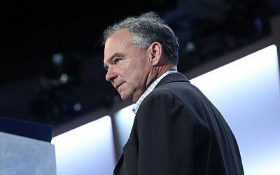 Democratic vice presidential nominee Tim Kaine on stage at the Democratic National Convention in Philadelphia, July 27, 2016. (Jessica Kourkounis/Getty Images/AFP)