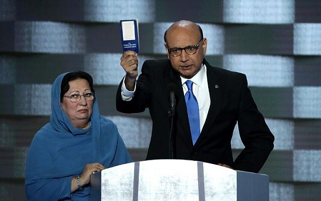 Khizr Khan, father of fallen Muslim US soldier Humayun Khan, holds up the US Constitution as he delivers remarks on the fourth day of the Democratic National Convention at the Wells Fargo Center in Philadelphia, Pennsylvania on July 28, 2016 . (Alex Wong/Getty Images/AFP)