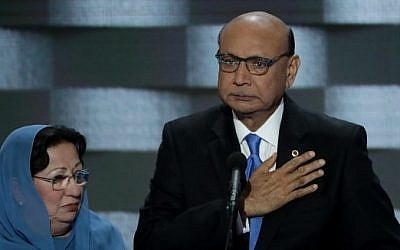 Khizr Khan, father of deceased Muslim US soldier Humayun S.M. Khan, delivers remarks on the fourth day of the Democratic National Convention at the Wells Fargo Center in Philadelphia, Pennsylvania, on July 28, 2016. (Alex Wong/Getty Images/AFP)