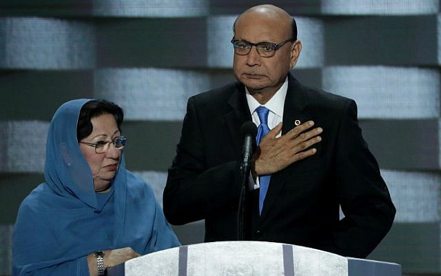 Khizr Khan, father of deceased Muslim US Soldier Humayun S. M. Khan, delivers remarks on the fourth day of the Democratic National Convention in Philadelphia, Pennsylvania, July 28, 2016. (Alex Wong/Getty Images/AFP)