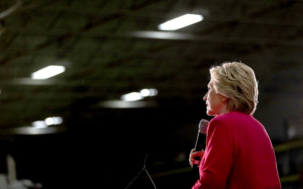 Democratic presidential nominee former Secretary of State Hillary Clinton speaks during a campaign rally at K'Nex, a toy company, on July 29, 2016 in Hatfield, Pennsylvania. (Justin Sullivan/Getty Images/AFP)