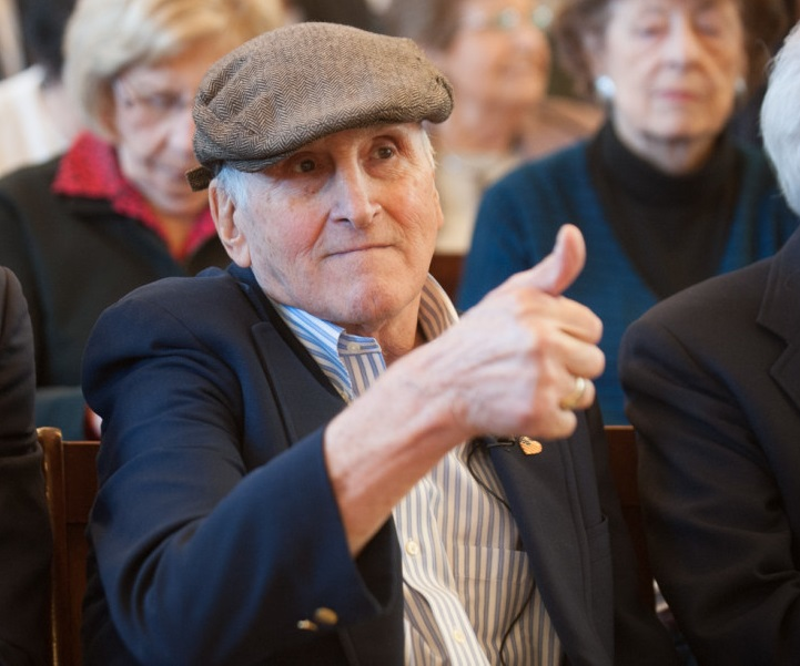 Holocaust survivor Stephan Ross, founder of the New England Holocaust Memorial, participating in the 2016 Yom HaShoah commemoration in Boston, Massachusetts, organized by the Jewish Community Relations Council of Greater Boston (courtesy)