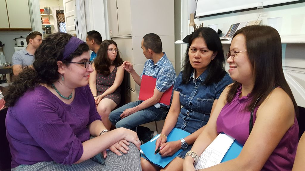 Katie Greenberg, one of five T'ruah fellows contributing to the cause of human rights, works with low-wage Filipino workers at the Damayan Migrants Association. (Courtesy)