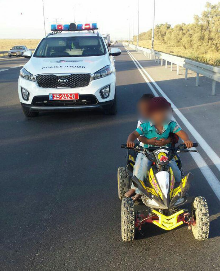 Two Bedouin children were stopped by police on Highway 60 on July 25, 2016 (Israel Police)
