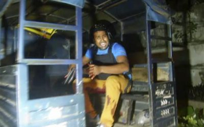 n this Friday, July 1, 2016, image made from video, an injured security officer, reacts as he sits in the back of a truck after a gunfight with militants who took hostages at a restaurant popular with foreigners in Dhaka, Bangladesh. (AP Photo)