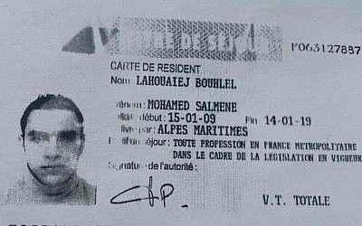 An ID card in the name of terror suspect Mohamed Lahouaiej-Bouhlel, alleged to have killed more than 80 people in Nice on July 14, 2016 (Courtesy)
