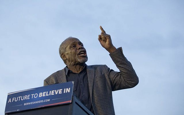 Actor Danny Glover introduces Bernie Sanders during a campaign rally at Hunters Point park, Monday, April 18, 2016, in the Queens borough of New York. (Mary Altaffer/AP)