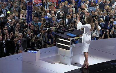 Melania Trump, wife of Republican presidential candidate Donald Trump, waves to the delegates after her speech during the opening day of the Republican National Convention in Cleveland, Ohio, Monday, July 18, 2016. (AP Photo/Mark J. Terrill)