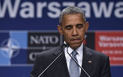 US President Barack Obama at a news conference in Warsaw, Poland, July 9, 2016. (AP/Susan Walsh)