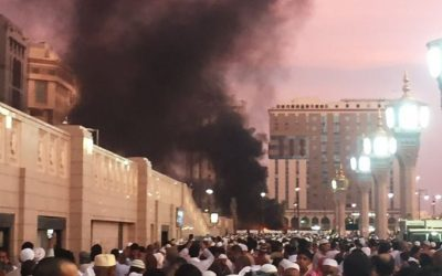 People stand by an explosion site in Medina, Saudi Arabia, Monday, July 4, 2016. (Courtesy of Noor Punasiya via AP)
