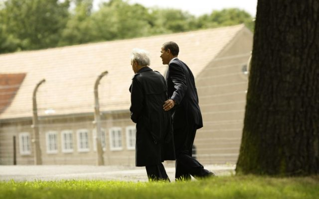 U.S. President Barack Obama, right, and Holocaust survivor Elie Wiesel leave the former Buchenwald Nazi concentration camp near the eastern German city of Weimar in Thuringia Friday June 5, 2009 (AP Photo/Ina Fassbender, Pool)