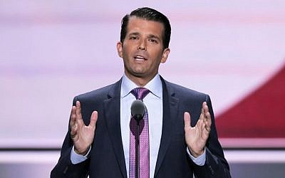 Donald Trump, Jr., son of Republican Presidential Candidate Donald Trump, speaks during the second day of the Republican National Convention in Cleveland, Tuesday, July 19, 2016. (AP Photo/J. Scott Applewhite)