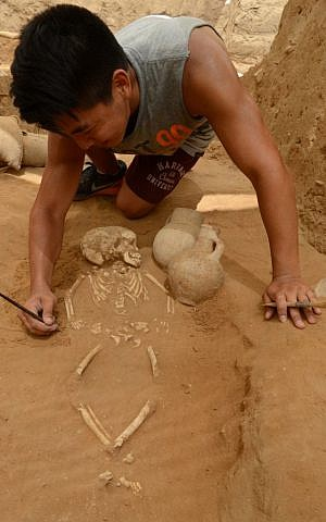 A student excavates a 10th-9th century BC burial in the excavation of the Philistine cemetery by the Leon Levy Expedition to Ashkelon. (Melissa Aja /Leon Levy Expedition)