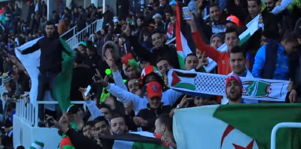 Algerian soccer fans cheer for Palestine in friendly match between the two countries February 17, 2016 (Screen capture: YouTube)