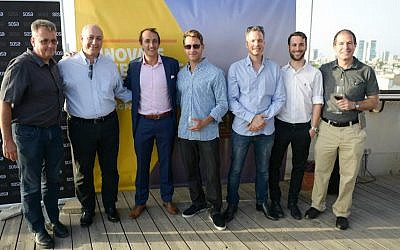 Australian Ambassador Dave Sharma, third from left, at opening of Landing Pad in Tel Aviv (Courtesy)