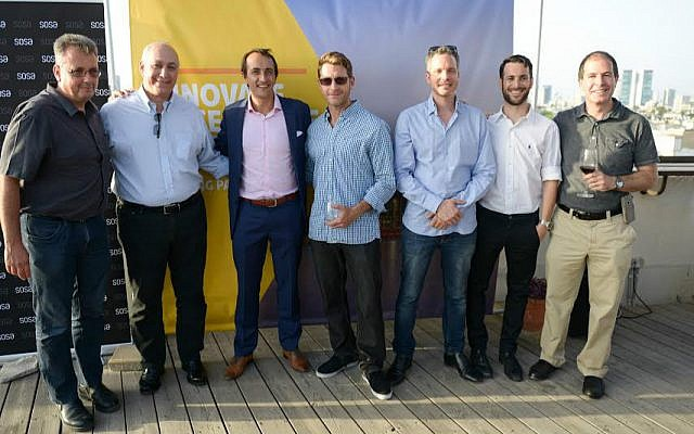 Australian Ambassador Dave Sharma, third from left, at opening of Landing Pad in Tel Aviv (Courtesy)