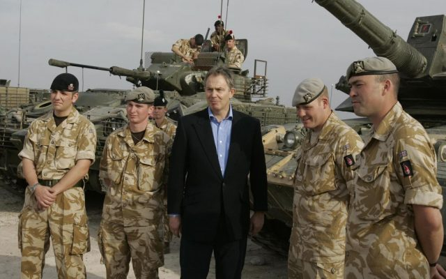 In this Thursday Dec. 22, 2005 file photo, the then British prime minister Tony Blair meets soldiers at Shaibah logistics base, Basra, Iraq. (AP Photo/Kirsty Wigglesworth, File)
