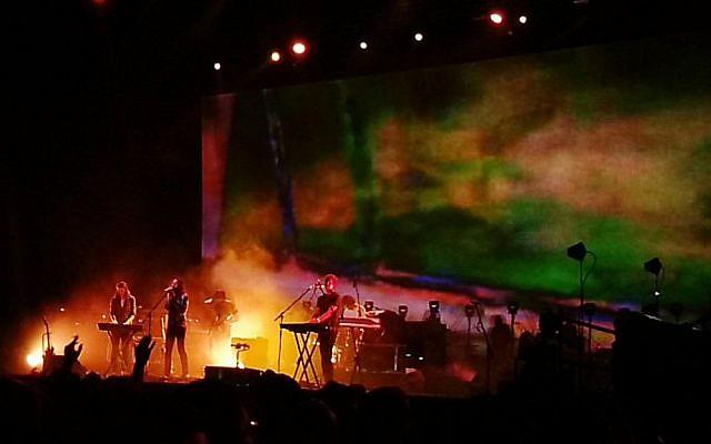 The Australian band Tame Impala perform at Rishon Lezion's LIVE Park venue on July 11, 2016. (Judah Ari Gross/Times of Israel)