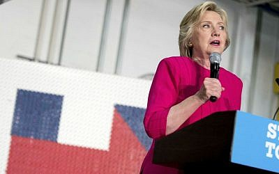 Democratic presidential candidate Hillary Clinton speaks at a rally at K'NEX, a toy company in Hatfield, Pennsylvania, Friday, July 29, 2016. (AP Photo/Andrew Harnik)
