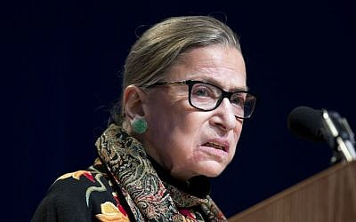 Supreme Court Justice Ruth Bader Ginsburg speaks at Brandeis University in Waltham, Massachusetts, January 28, 2016. (AP Photo/Michael Dwyer, File)