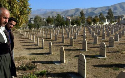 In this Dec. 7, 2006 file photo, men stand at a graveyard where the dead of a 1988 gas attack on Halabja, Iraq, by Saddam Hussein's regime were laid to rest. (AP Photo/Yahya Ahmed, File)