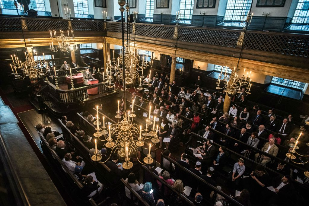 A commemoration of British Jewish men and women who served in the First World War, held by We Were There Too, at Bevis Marks Synagogue. (Blake Ezra)