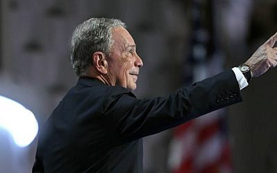 Former New York mayor Michael Bloomberg takes the stage during the third day of the Democratic National Convention in Philadelphia , Wednesday, July 27, 2016. (AP Photo/Mark J. Terrill)