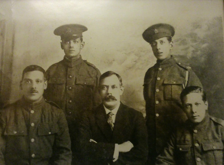 Published in the 'British Jewry Book of Honour' in 1922, the five Jacobs brothers, Jack, Myer, Benjamin, Maurice and Samuel (center, sans uniform). (Courtesy)