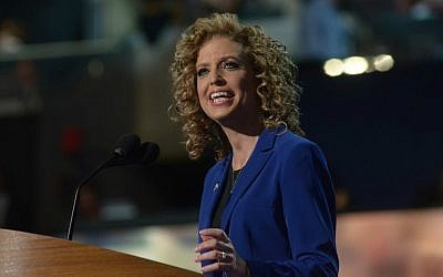 Debbie Wasserman Schultz, chair of the Democratic National Committee, speaks to delegates of the party's convention in Charlotte, North Carolina, September 6, 2012. (DNC via Flickr/via JTA)