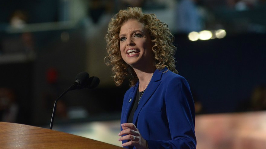 Debbie Wasserman Schultz, chair of the Democratic National Committee, speaks to delegates of the party's convention in Charlotte, North Carolina, Sept. 6, 2012. (DNC via Flickr/via JTA)