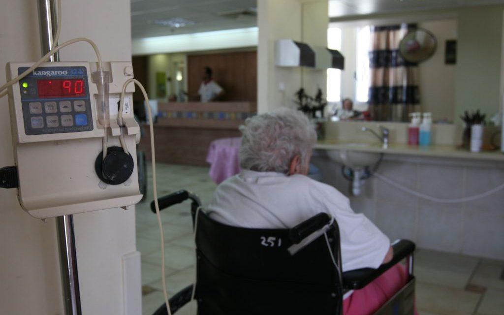 Illustrative: An Israeli woman in a nursing home in Jerusalem. (Anna Kaplan/ Flash90)