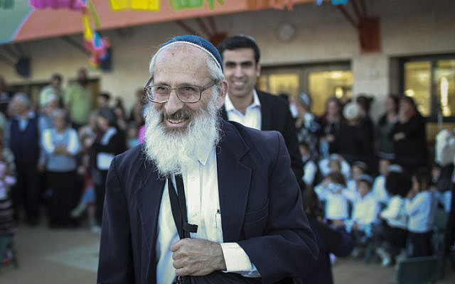Rabbi Shlomo Aviner at the dedication of a new kindergarten in the settlement of Beit El, on Wednesday, March 26, 2014. (Hadas Parush/Flash90)