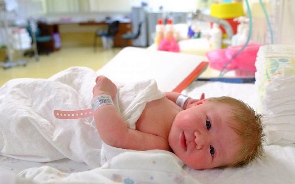 A newborn baby in an Israeli hospital. (Chen Leopold/Flash90)