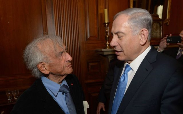 Elie Wiesel meets with Prime Minister Benjamin Netanyahu, prior to Netanyahu's speech at a joint meeting of Congress on Capitol Hill in Washington, DC, on March 3, 2015 (Amos Ben Gershom/GPO)