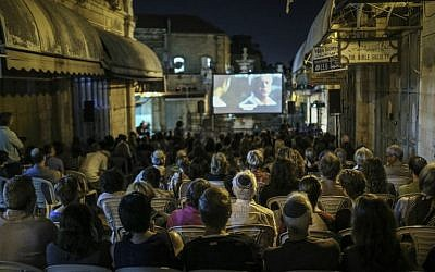 Moviegoers viewing a film in the Old City's Moristan Square at the 2015 Jerusalem Film Festival. (Hadas Parush/Flash 90)