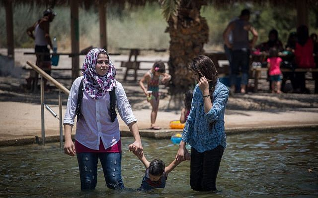 Illustrative photo of Arab women at an outdoor bathing pool in Israel, July 19, 2015. (Hadas Parush/Flash90)