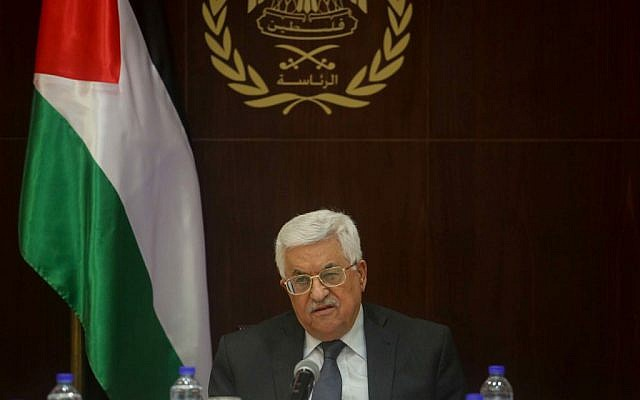 Palestinian Authority President Mahmoud Abbas attends a Palestinian Liberation Organization executive committee meeting in the West Bank city of Ramallah on March 1, 2016. (Flash90)