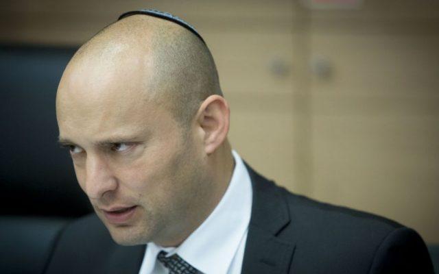 Education Minister Naftali Bennett speaks in the Knesset in Jerusalem, June 27, 2016. (Yonatan Sindel/Flash90)